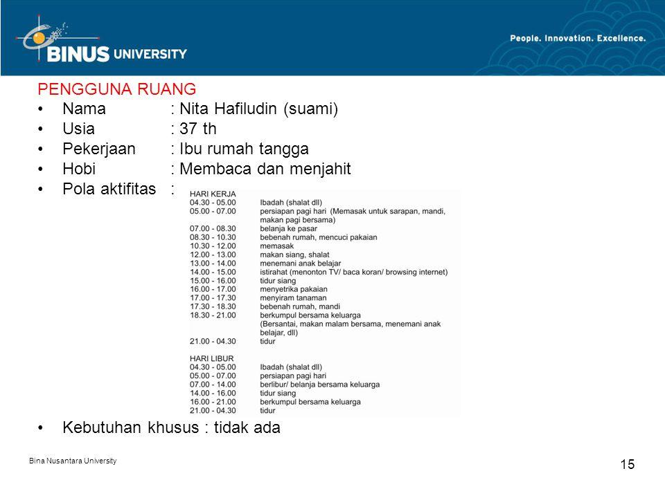 Bina Nusantara University 15 PENGGUNA RUANG Nama : Nita Hafiludin (suami) Usia: 37 th Pekerjaan: Ibu rumah tangga Hobi: Membaca dan menjahit Pola akti