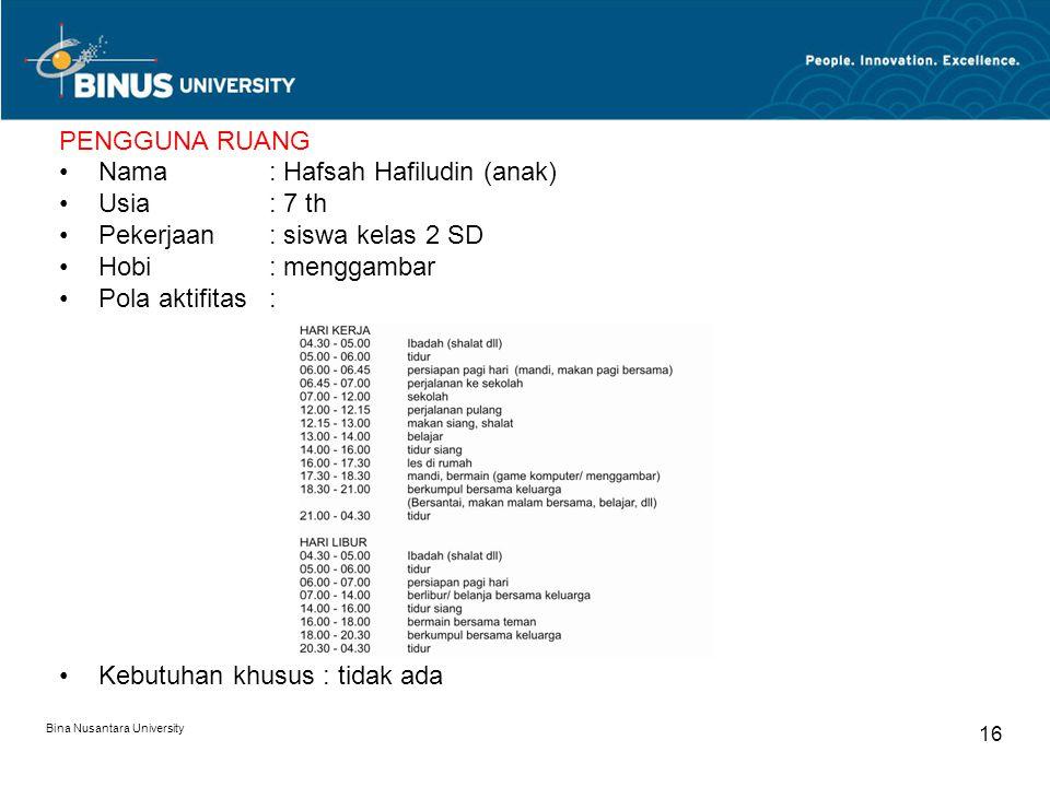 Bina Nusantara University 16 PENGGUNA RUANG Nama : Hafsah Hafiludin (anak) Usia: 7 th Pekerjaan: siswa kelas 2 SD Hobi: menggambar Pola aktifitas: Keb