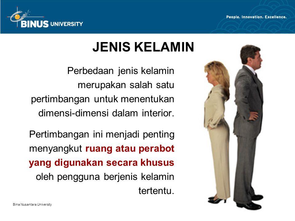 Bina Nusantara University 4 JENIS KELAMIN Perbedaan jenis kelamin merupakan salah satu pertimbangan untuk menentukan dimensi-dimensi dalam interior. P