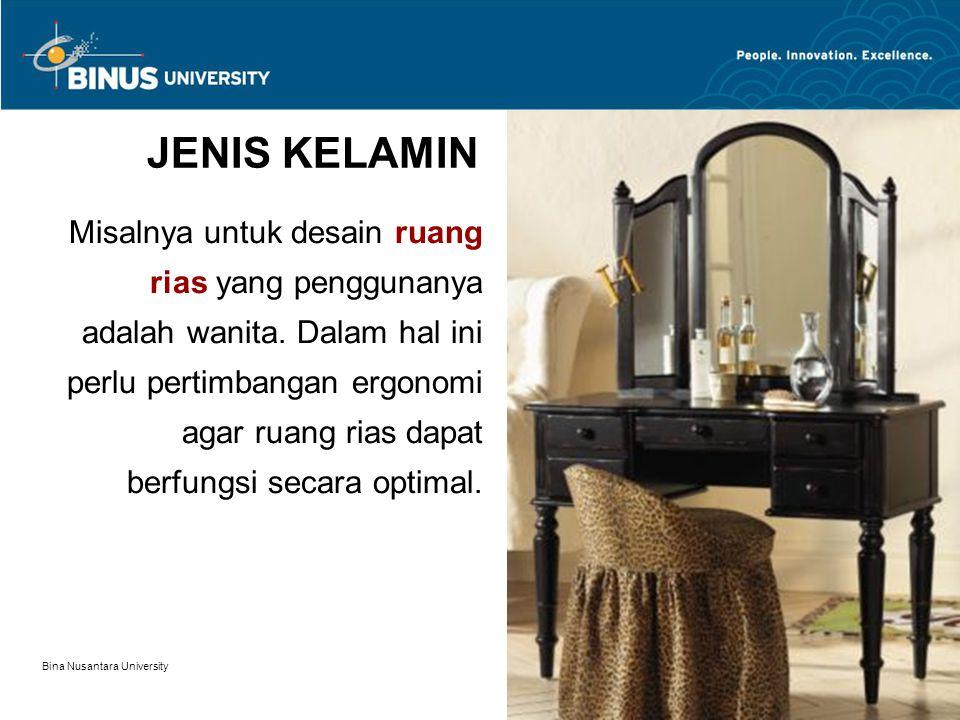 Bina Nusantara University 5 JENIS KELAMIN Misalnya untuk desain ruang rias yang penggunanya adalah wanita. Dalam hal ini perlu pertimbangan ergonomi a