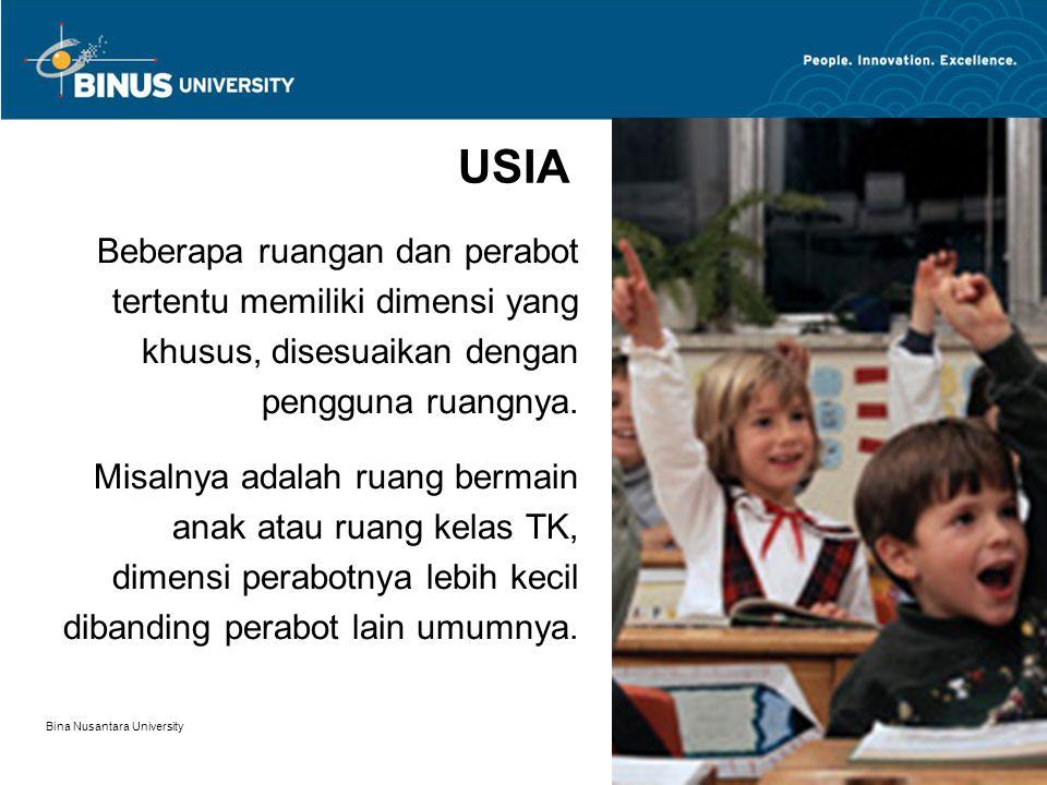 Bina Nusantara University 6 USIA Beberapa ruangan dan perabot tertentu memiliki dimensi yang khusus, disesuaikan dengan pengguna ruangnya. Misalnya ad