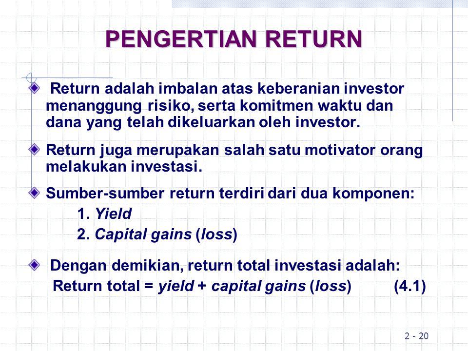 4-3 PENGERTIAN RISIKO Risiko adalah kemungkinan perbedaan antara return aktual yang diterima dengan return yang diharapkan.