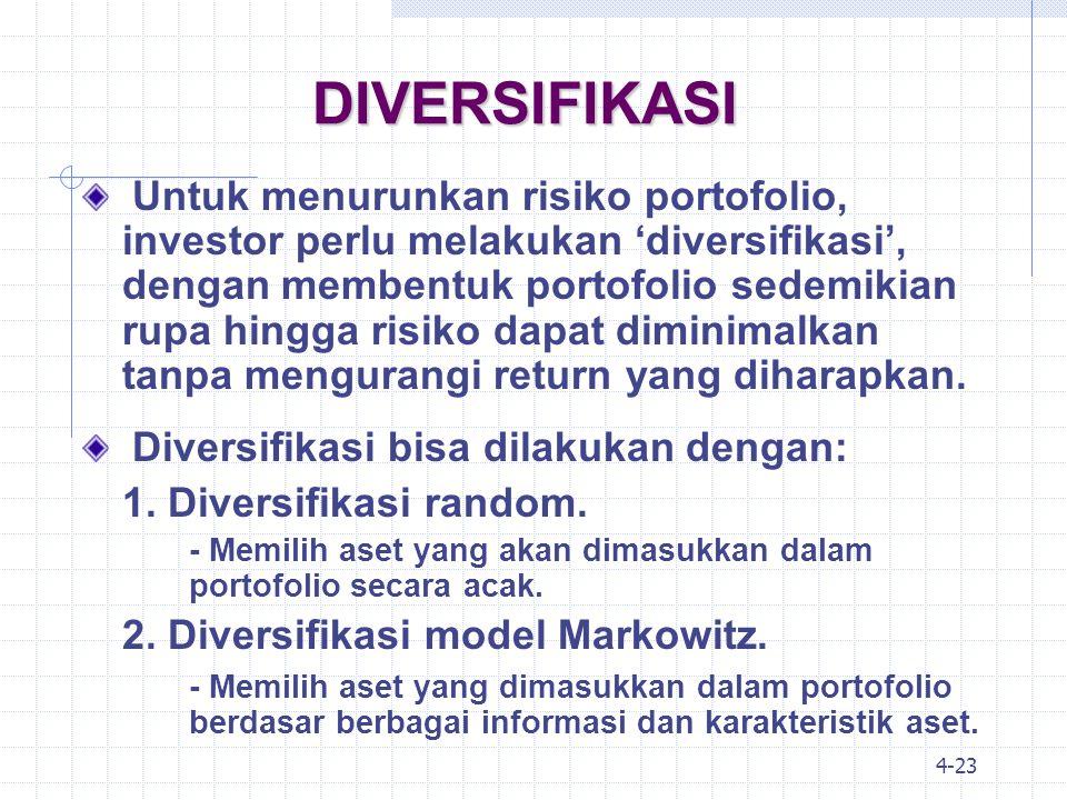 4-24 DIVERSIFIKASI: MARKOWITZ Kontribusi penting dari ajaran Markowitz adalah bahwa risiko portofolio tidak boleh dihitung dari penjumlahan semua risiko aset-aset yang ada dalam portofolio, tetapi harus dihitung dari kontribusi risiko aset tersebut terhadap risiko portofolio, atau diistilahkan dengan kovarians.