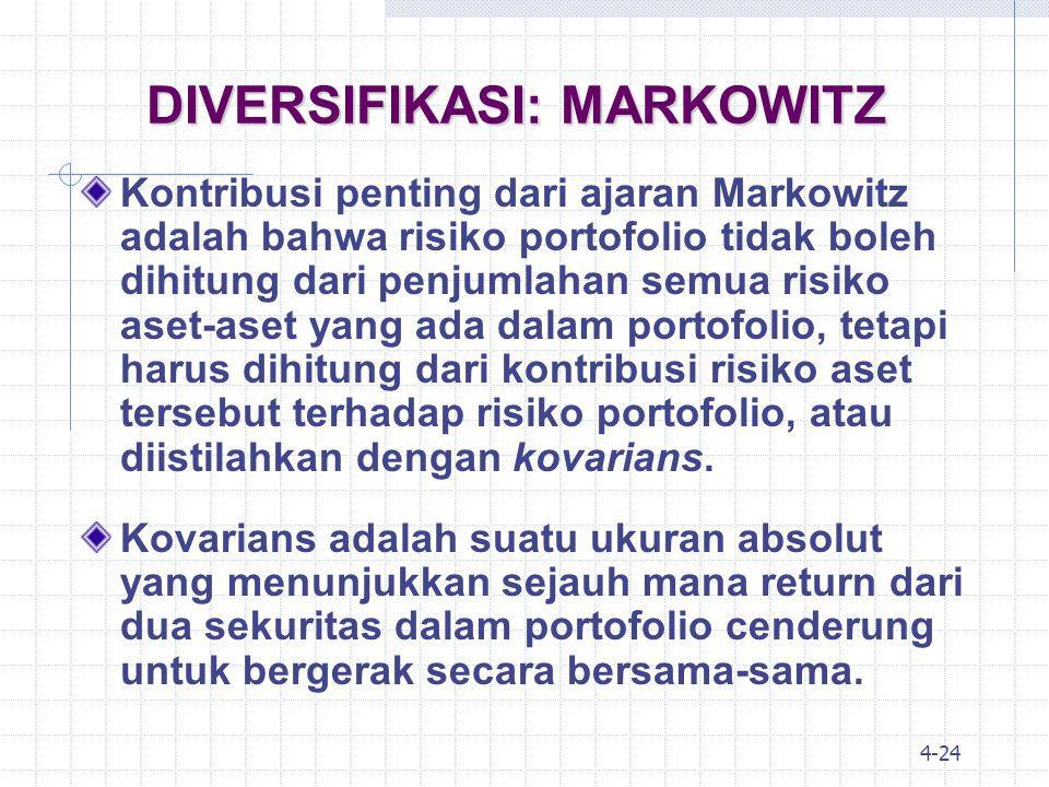 4-25 DIVERSIFIKASI: MARKOWITZ Di samping ukuran kovarians, dalam perhitungan risiko portofolio kita juga harus memperhatikan besarnya korelasi antar aset.