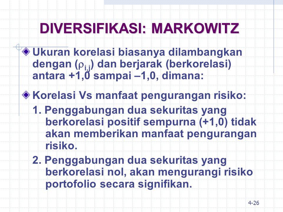 4-27 DIVERSIFIKASI: MARKOWITZ Korelasi Vs manfaat pengurangan risiko: 1.