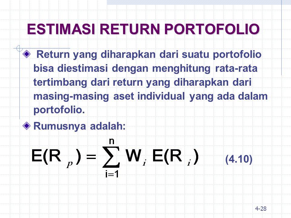4-29 ESTIMASI RETURN PORTOFOLIO: CONTOH Sebuah portofolio yang terdiri dari 3 jenis saham ABC, DEF dan GHI menawarkan return yang diharapkan masing-masing sebesar 15%, 20% dan 25%.