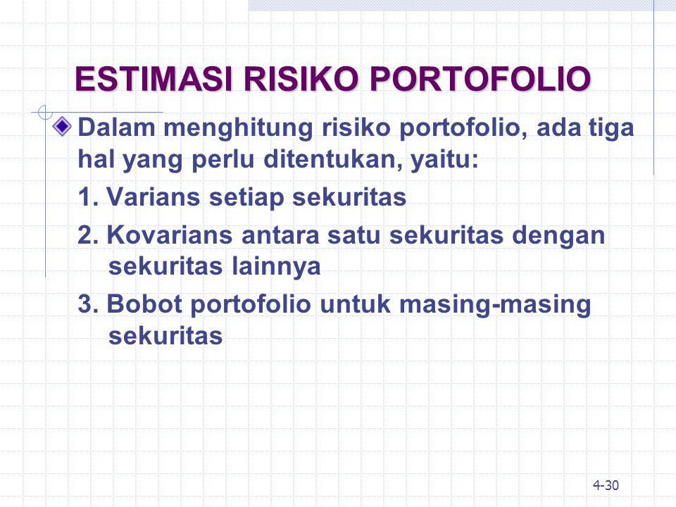 4-31 ESTIMASI RISIKO PORTOFOLIO: KASUS 2 SEKURITAS Rumus yang dipakai adalah (rumus 4.11): dimana:  p = standar deviasi portofolio w A = bobot portofolio pada aset A  A,B = koefisien korelasi aset A dan B