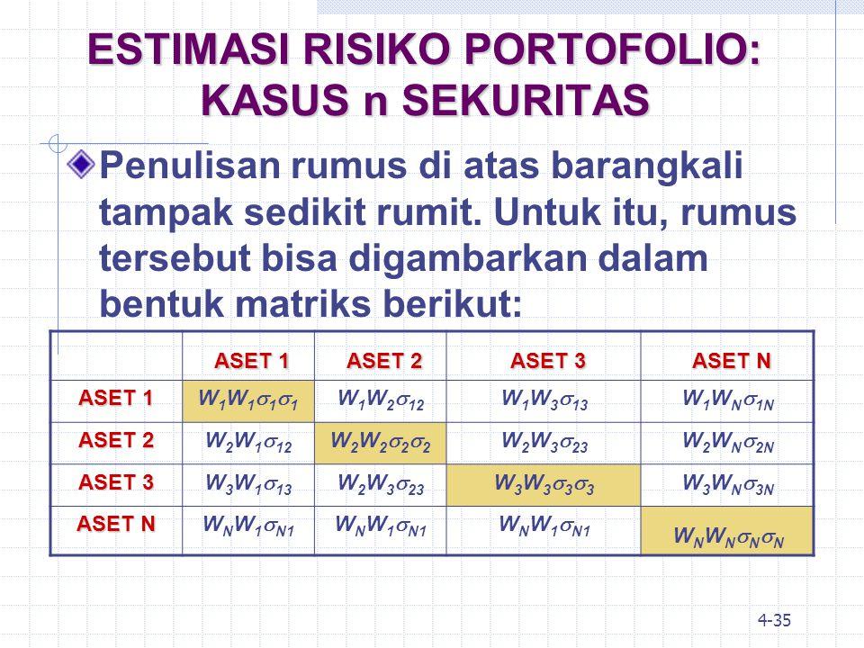 4-36 MODEL INDEKS TUNGGAL Perhitungan risiko portofolio dengan model Markowitz seperti dalam tabel di atas, tampaknya tetap saja rumit, terutama jika jumlah aset (n) sangat banyak.