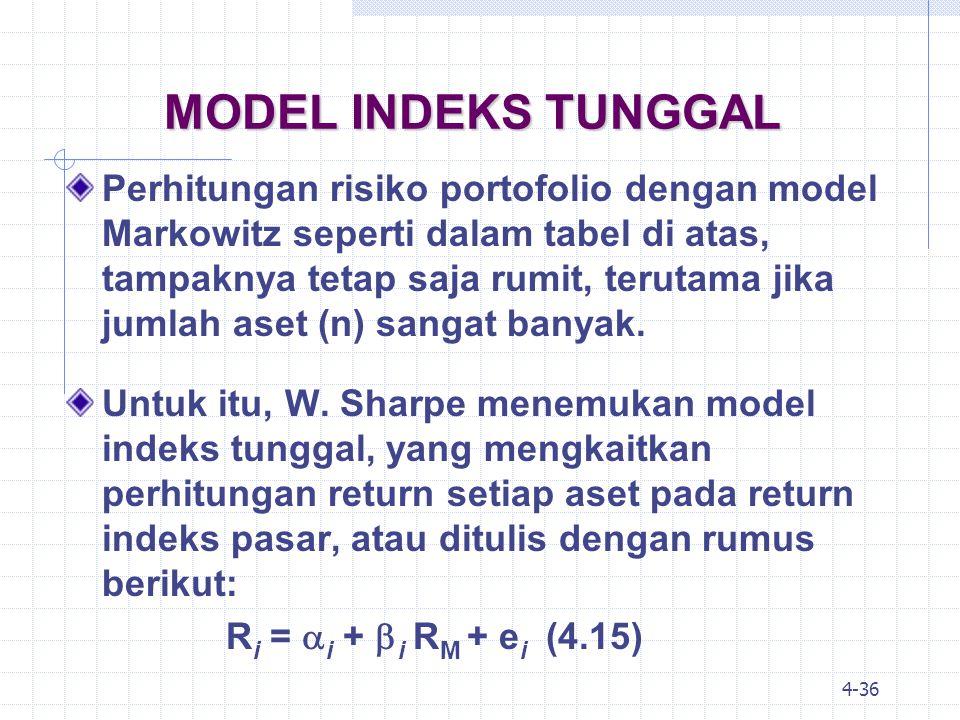 4-37 MODEL INDEKS TUNGGAL Penghitungan risiko yang mempengaruhi return sekuritas dalam model indeks tunggal melibatkan dua komponen utama, yaitu: 1.