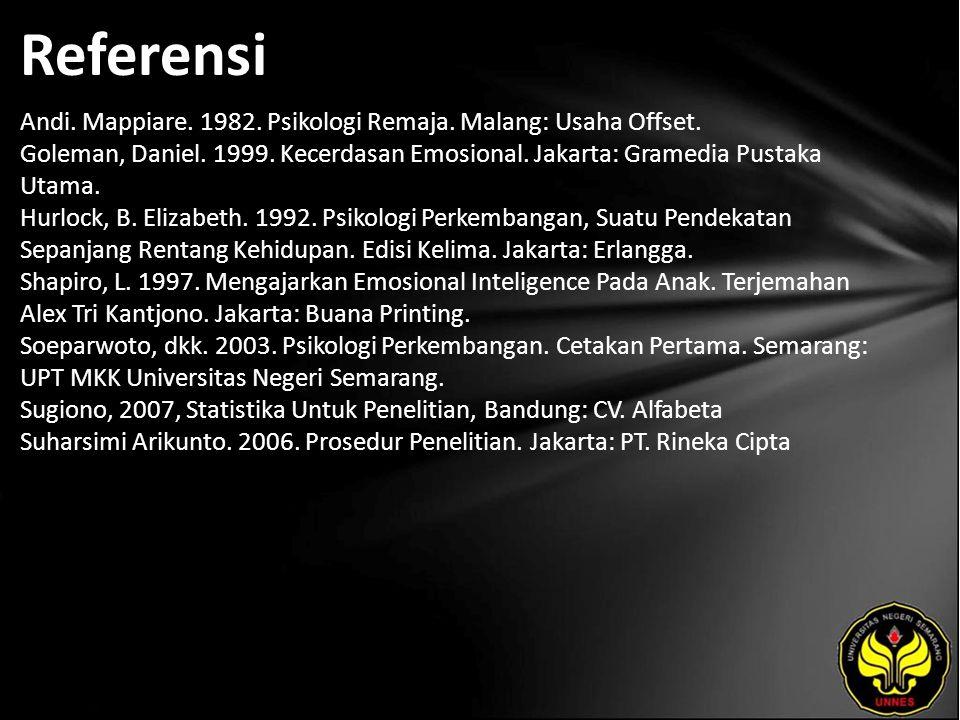 Referensi Andi. Mappiare. 1982. Psikologi Remaja. Malang: Usaha Offset. Goleman, Daniel. 1999. Kecerdasan Emosional. Jakarta: Gramedia Pustaka Utama.