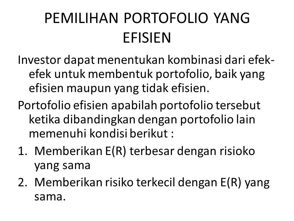PEMILIHAN PORTOFOLIO YANG EFISIEN Investor dapat menentukan kombinasi dari efek- efek untuk membentuk portofolio, baik yang efisien maupun yang tidak