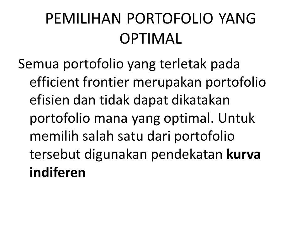 PEMILIHAN PORTOFOLIO YANG OPTIMAL Semua portofolio yang terletak pada efficient frontier merupakan portofolio efisien dan tidak dapat dikatakan portof