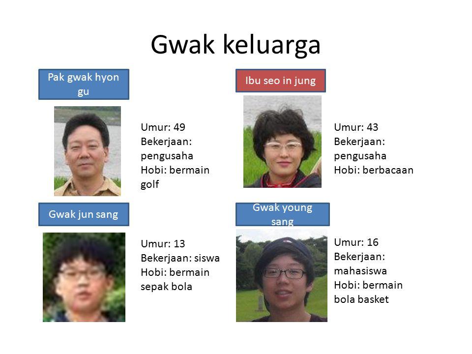 Gwak keluarga choi Jun haKwon da hunKwon seng hyon Ibu choi gem hwa Umur: 49 Bekerjaan: pengusaha Hobi: bermain golf Umur: 13 Bekerjaan: siswa Hobi: b