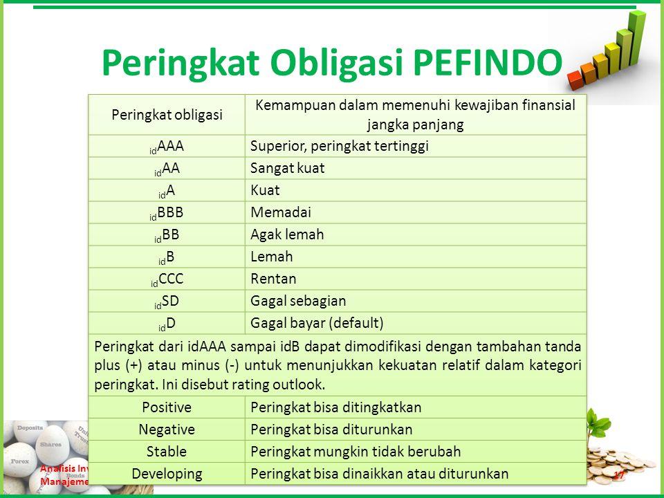 Peringkat Obligasi PEFINDO Analisis Investasi dan Manajemen Portofolio Trisnadi Wijaya, S.E., S.Kom17