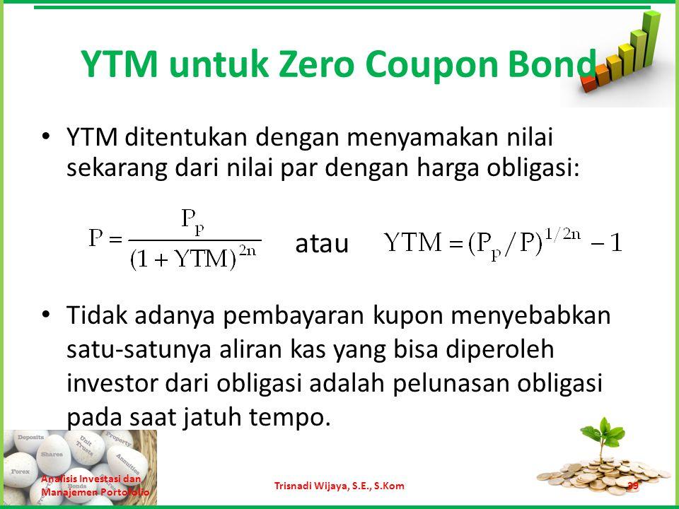 YTM untuk Zero Coupon Bond YTM ditentukan dengan menyamakan nilai sekarang dari nilai par dengan harga obligasi: Analisis Investasi dan Manajemen Port