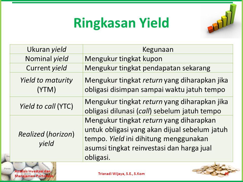 Ringkasan Yield Analisis Investasi dan Manajemen Portofolio Trisnadi Wijaya, S.E., S.Kom49 Ukuran yieldKegunaan Nominal yieldMengukur tingkat kupon Cu