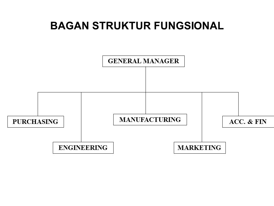 BAGAN STRUKTUR FUNGSIONAL GENERAL MANAGER PURCHASING ENGINEERING MANUFACTURING MARKETING ACC. & FIN