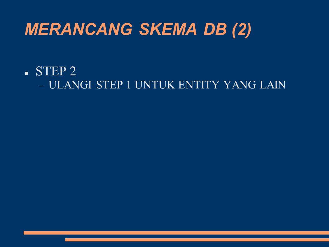 MERANCANG SKEMA DB (2) STEP 2  ULANGI STEP 1 UNTUK ENTITY YANG LAIN