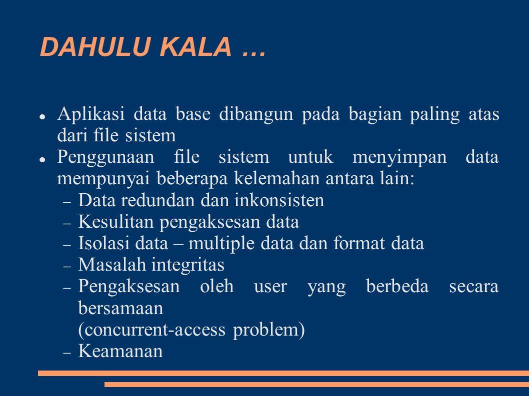 DAHULU KALA … Aplikasi data base dibangun pada bagian paling atas dari file sistem Penggunaan file sistem untuk menyimpan data mempunyai beberapa kelemahan antara lain:  Data redundan dan inkonsisten  Kesulitan pengaksesan data  Isolasi data – multiple data dan format data  Masalah integritas  Pengaksesan oleh user yang berbeda secara bersamaan (concurrent-access problem)  Keamanan