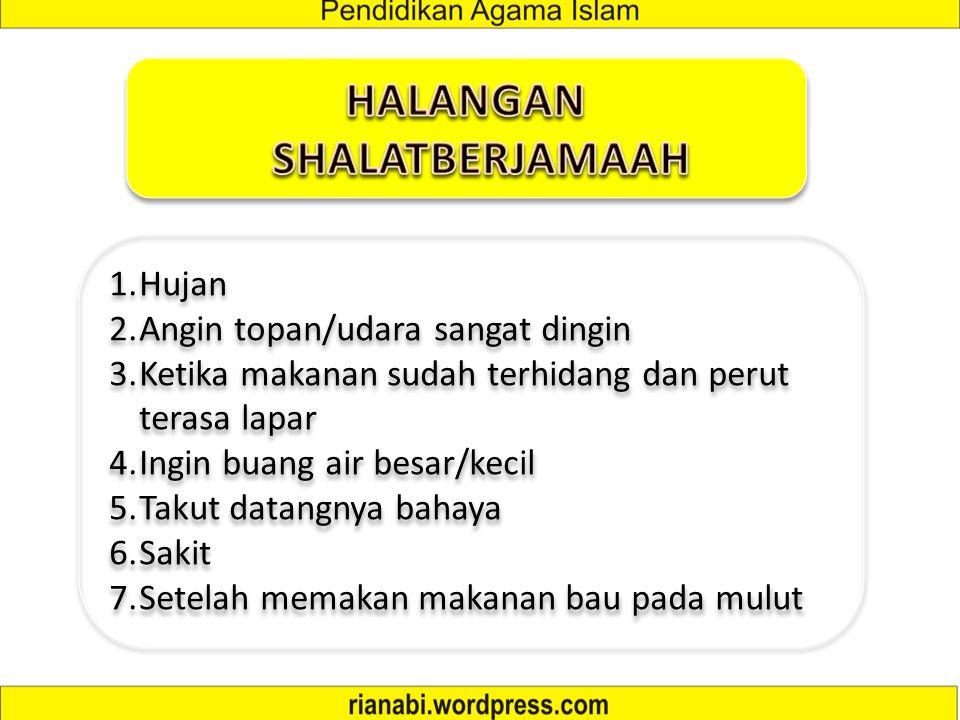 1. Shalat Fardhu (Subuh, Zhuhur, Ashar, Maghrib dan Isya') 2. Shalat Jum'at 3. Shalat Tarawih 4. Shalat Idul Fitri dan 'Idul Adha 5. Shalat Jenazah 6.