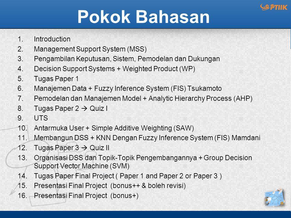Pokok Bahasan 1.Introduction 2.Management Support System (MSS) 3.Pengambilan Keputusan, Sistem, Pemodelan dan Dukungan 4.Decision Support Systems + We