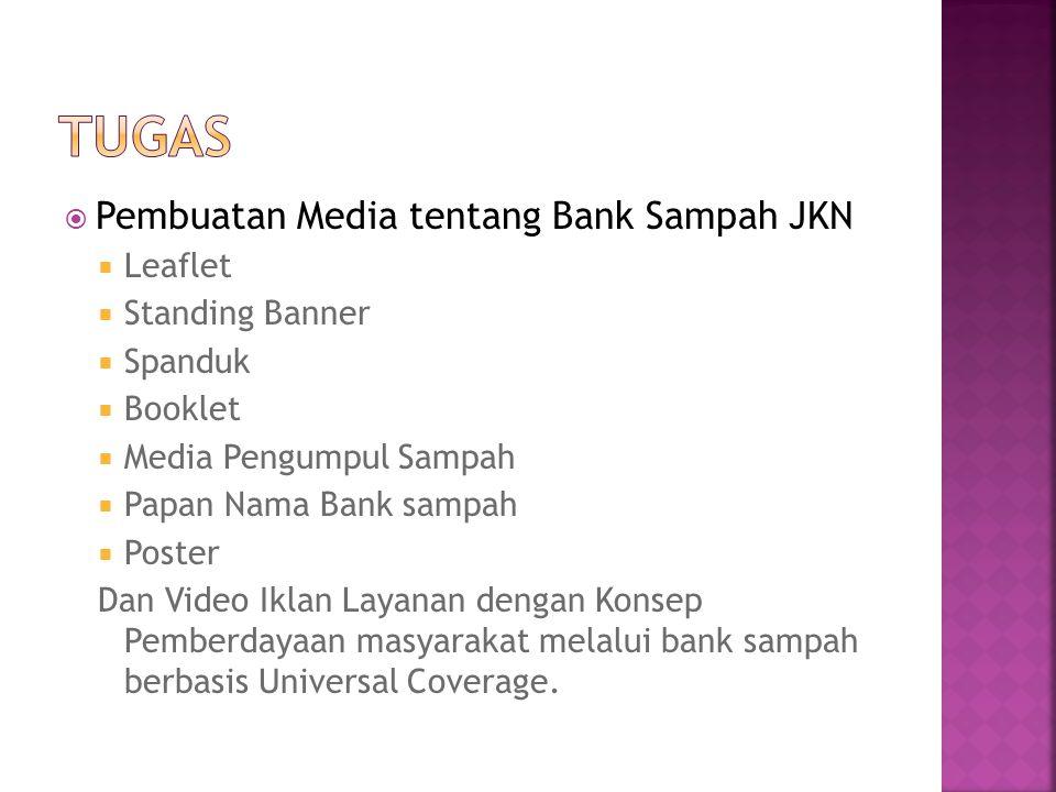  Pembuatan Media tentang Bank Sampah JKN  Leaflet  Standing Banner  Spanduk  Booklet  Media Pengumpul Sampah  Papan Nama Bank sampah  Poster D