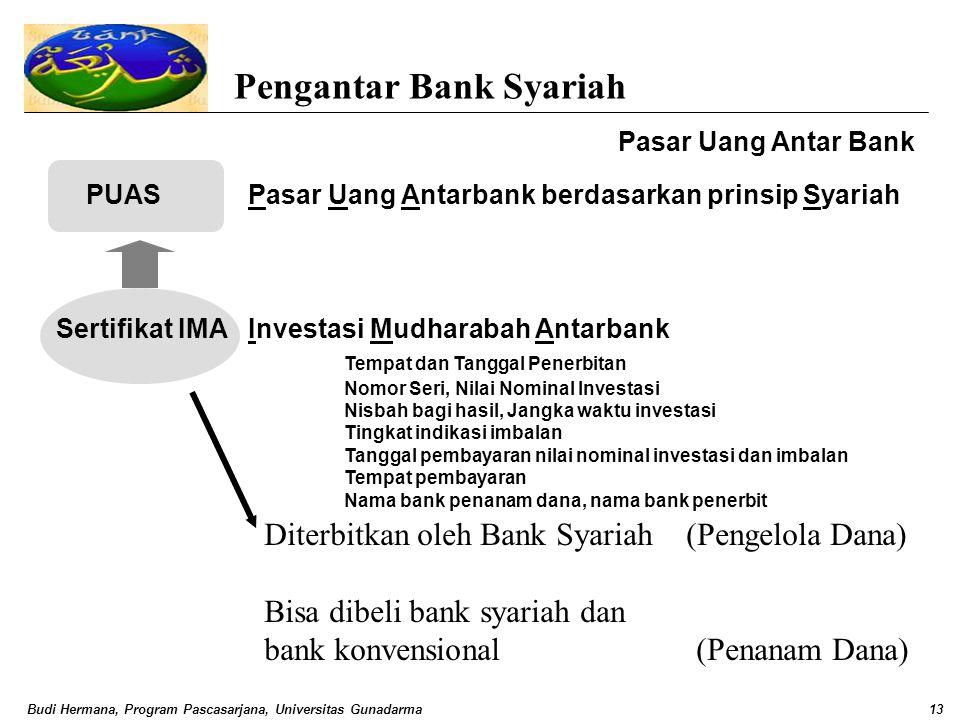 Budi Hermana, Program Pascasarjana, Universitas Gunadarma13 Pengantar Bank Syariah Pasar Uang Antar Bank PUASPasar Uang Antarbank berdasarkan prinsip