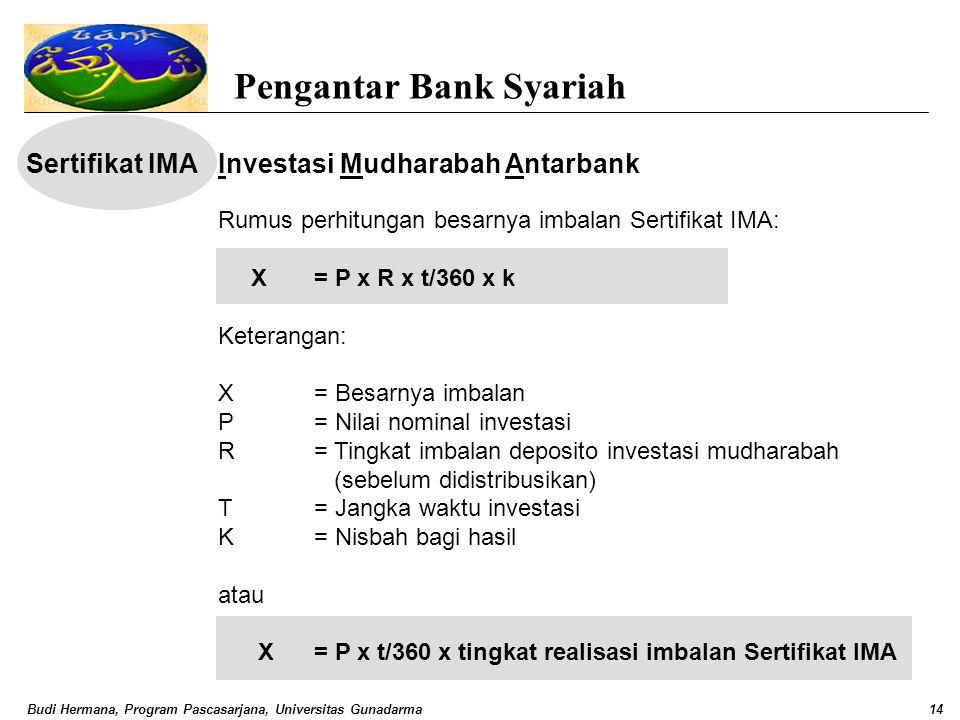 Budi Hermana, Program Pascasarjana, Universitas Gunadarma14 Pengantar Bank Syariah Sertifikat IMAInvestasi Mudharabah Antarbank Rumus perhitungan besa