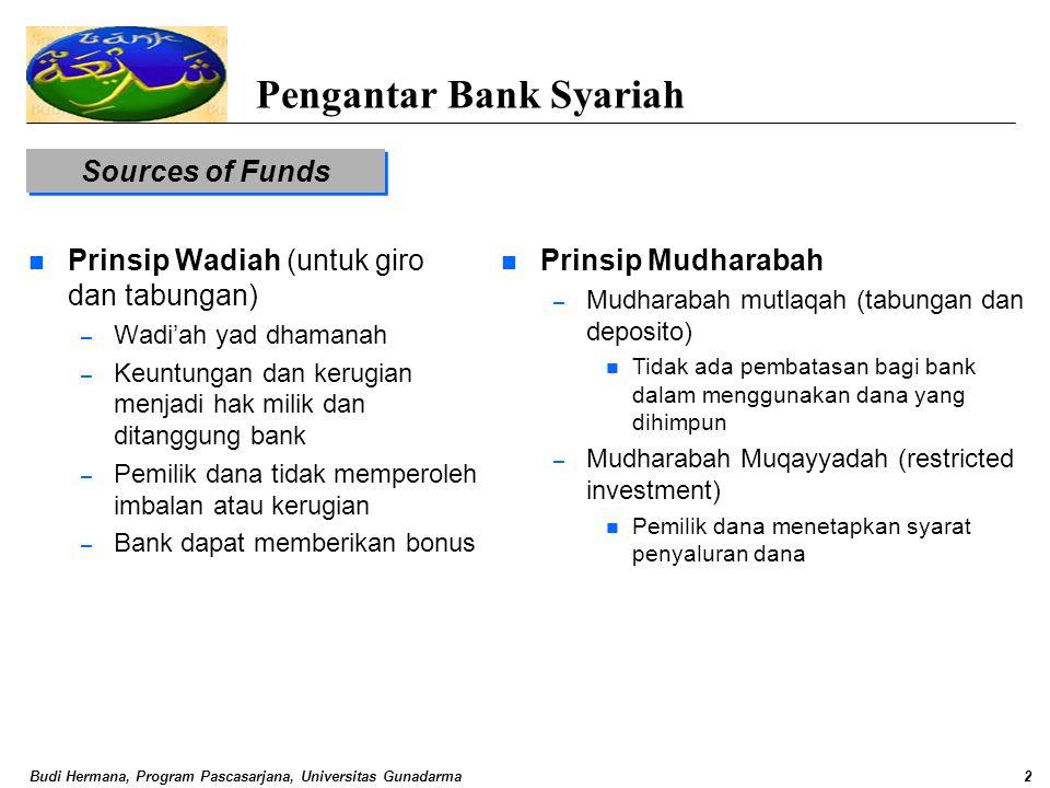 Budi Hermana, Program Pascasarjana, Universitas Gunadarma2 Pengantar Bank Syariah Sources of Funds n Prinsip Wadiah (untuk giro dan tabungan) – Wadi'a