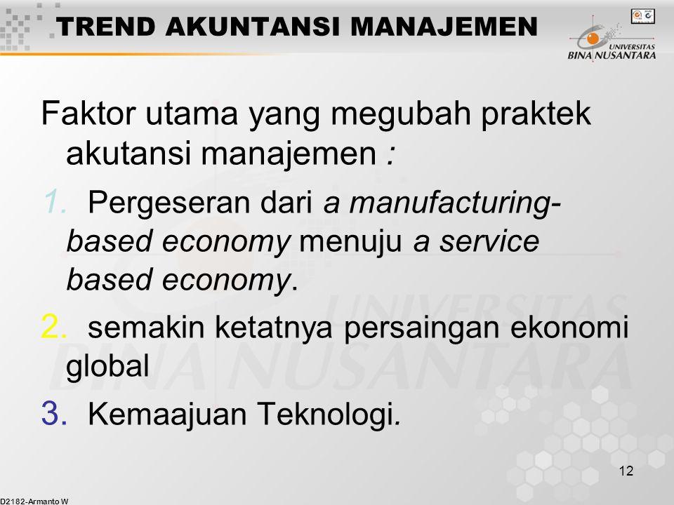 D2182-Armanto W 12 TREND AKUNTANSI MANAJEMEN Faktor utama yang megubah praktek akutansi manajemen : 1.