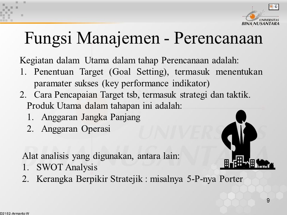 D2182-Armanto W 10 Fungsi Manajemen - Pelaksanaan Kegiatan dalam Utama dalam tahap Pelaksanaan adalah: 1.Organizing, yakni intinya adalah alokasi sumber daya 2.Leading, diantaranya Manajemen Sumber Daya Manusia, terutama dalam hal: a.Motivasi b.Supervisi Secara singkat, dalam tahap ini manajemen harus memutuskan hal-hal berkenaan dg: 1.What task to be done 2.Who shall do the task 3.How the tasks to be grouped 4.Who reports to whom, 5.Where decision are made