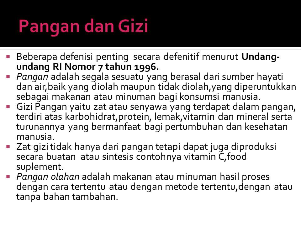  Zat Gizi adalah senyawa kimia yang telah dibuktikan mutlak diperlukan oleh tubuh.