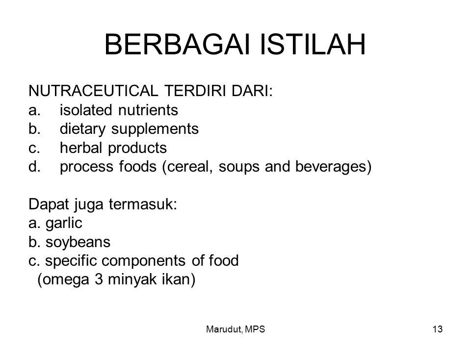 Marudut, MPS13 BERBAGAI ISTILAH NUTRACEUTICAL TERDIRI DARI: a.isolated nutrients b.dietary supplements c.herbal products d.process foods (cereal, soups and beverages) Dapat juga termasuk: a.