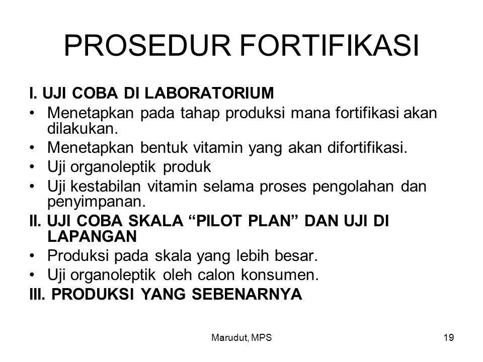 Marudut, MPS19 PROSEDUR FORTIFIKASI I.
