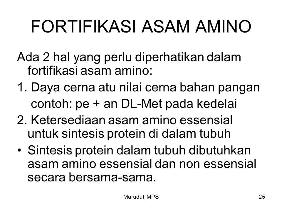 Marudut, MPS25 FORTIFIKASI ASAM AMINO Ada 2 hal yang perlu diperhatikan dalam fortifikasi asam amino: 1.