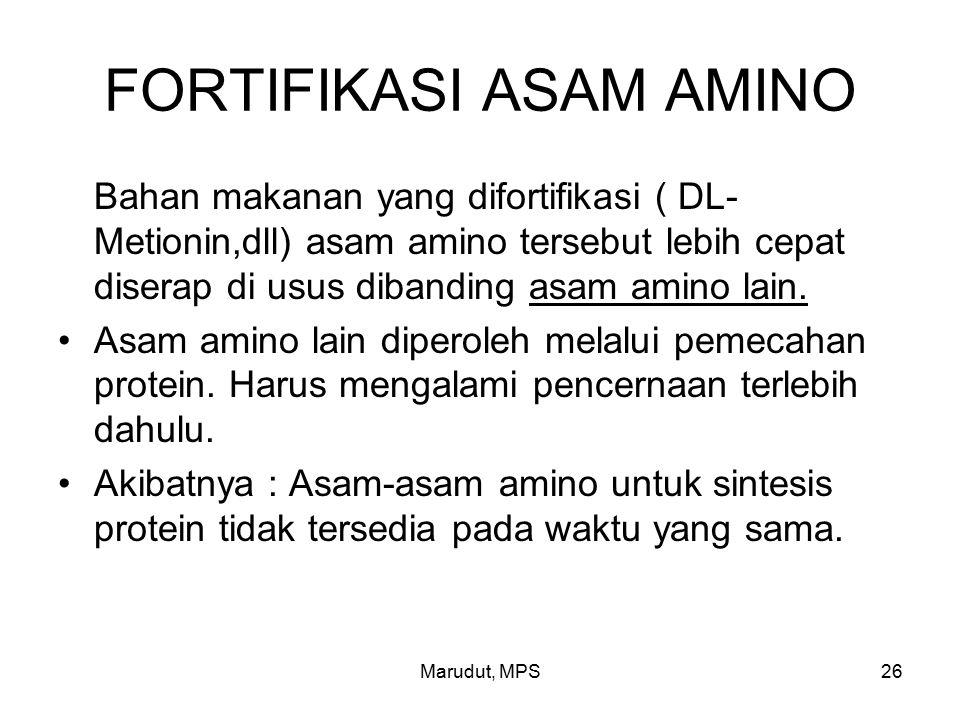 Marudut, MPS26 FORTIFIKASI ASAM AMINO Bahan makanan yang difortifikasi ( DL- Metionin,dll) asam amino tersebut lebih cepat diserap di usus dibanding asam amino lain.