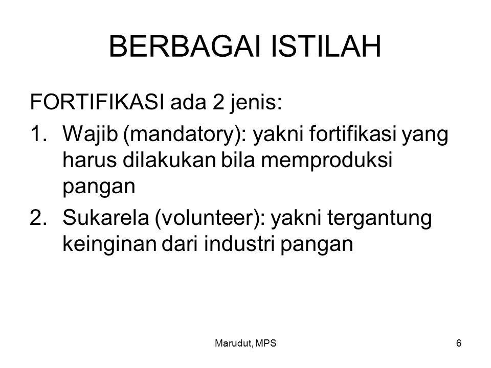 Marudut, MPS6 BERBAGAI ISTILAH FORTIFIKASI ada 2 jenis: 1.Wajib (mandatory): yakni fortifikasi yang harus dilakukan bila memproduksi pangan 2.Sukarela (volunteer): yakni tergantung keinginan dari industri pangan