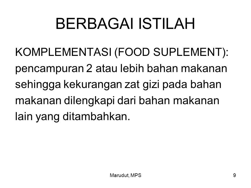 Marudut, MPS9 BERBAGAI ISTILAH KOMPLEMENTASI (FOOD SUPLEMENT): pencampuran 2 atau lebih bahan makanan sehingga kekurangan zat gizi pada bahan makanan dilengkapi dari bahan makanan lain yang ditambahkan.
