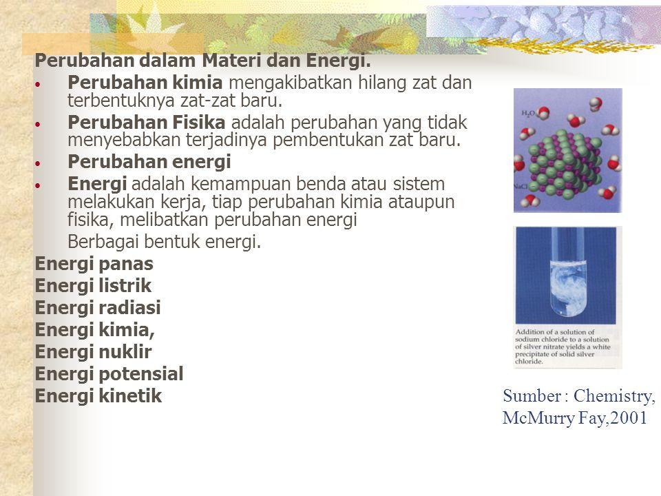 Perubahan dalam Materi dan Energi. Perubahan kimia mengakibatkan hilang zat dan terbentuknya zat-zat baru. Perubahan Fisika adalah perubahan yang tida