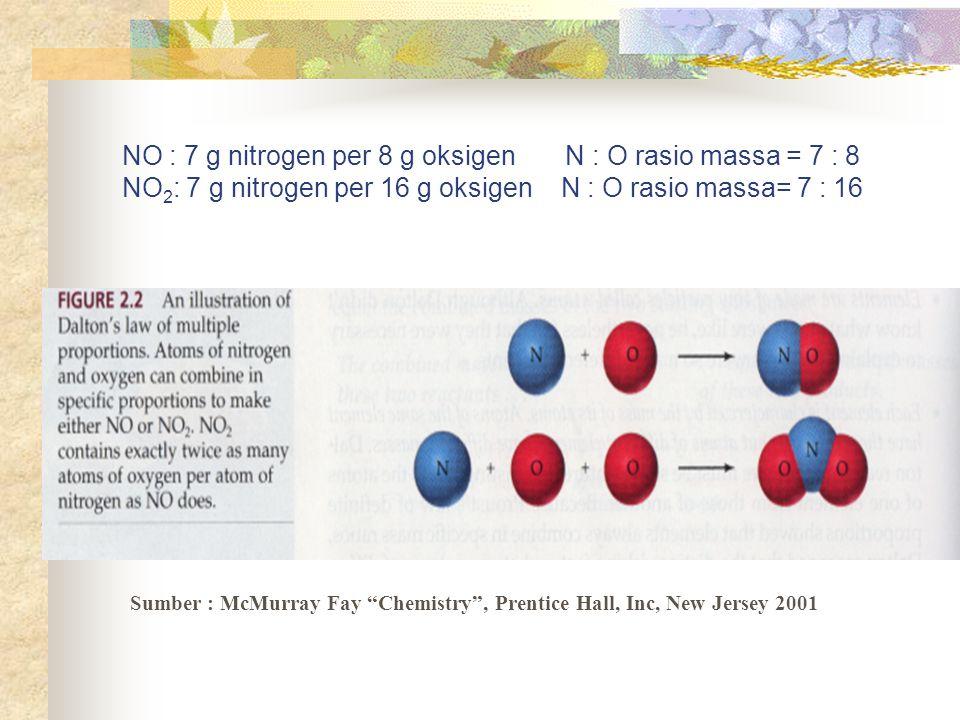 """NO : 7 g nitrogen per 8 g oksigen N : O rasio massa = 7 : 8 NO 2 : 7 g nitrogen per 16 g oksigen N : O rasio massa= 7 : 16 Sumber : McMurray Fay """"Chem"""
