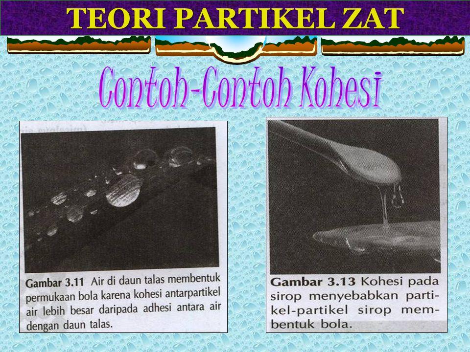 TEORI PARTIKEL ZAT Adhesi adalah gaya tarik menarik di antara partikel-partikel yang tidak sejenis. Contoh : a. pada gelas yang diisi air terjadi gaya