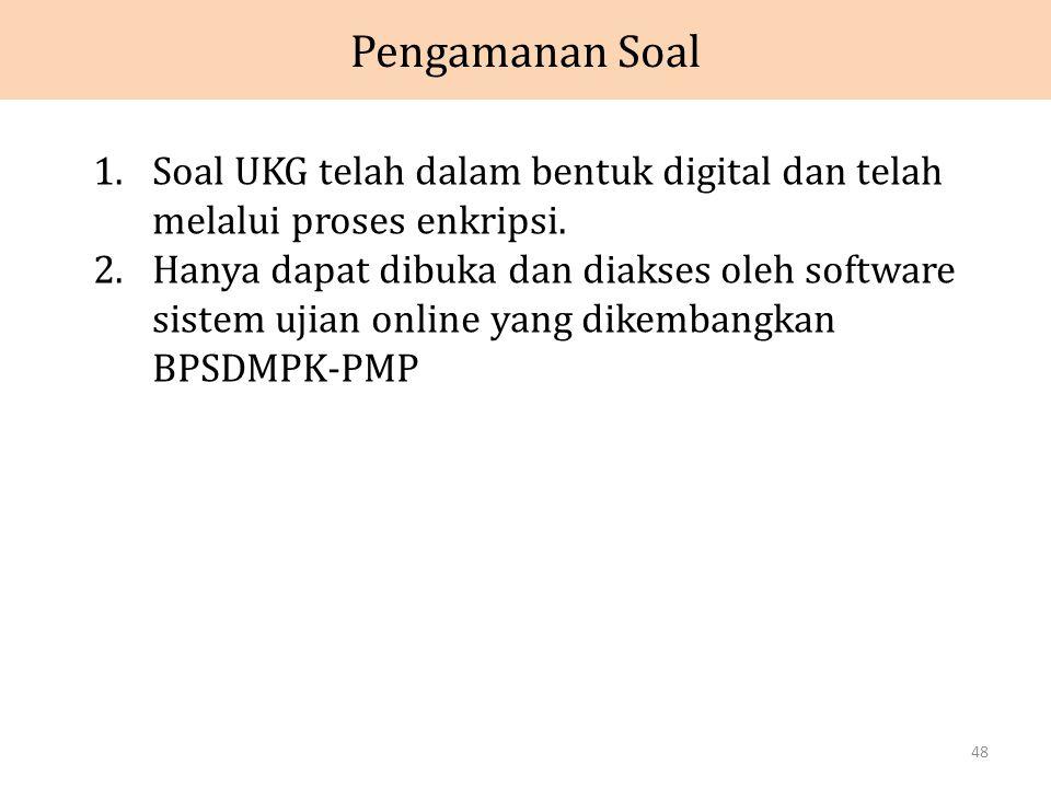 Pengamanan Soal 1.Soal UKG telah dalam bentuk digital dan telah melalui proses enkripsi.