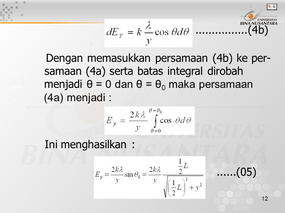 12 Dengan memasukkan persamaan (4b) ke per-... samaan (4a) serta batas integral dirobah.... menjadi θ = 0 dan θ = θ 0 maka persamaan... (4a) menjadi :
