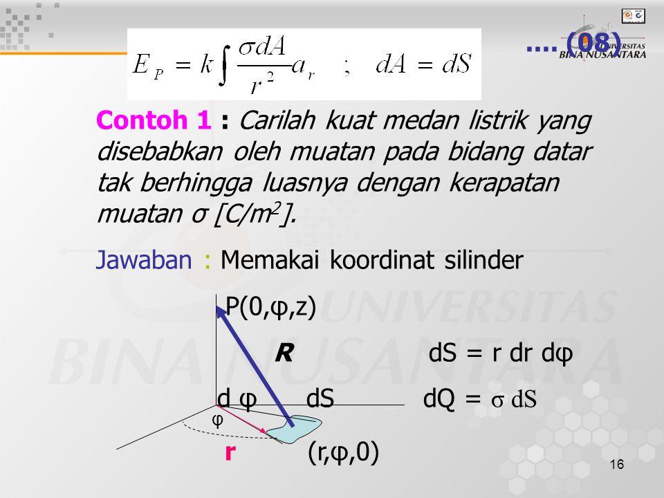 16.... (08) Contoh 1 : Carilah kuat medan listrik yang disebabkan oleh muatan pada bidang datar tak berhingga luasnya dengan kerapatan muatan σ [C/m 2