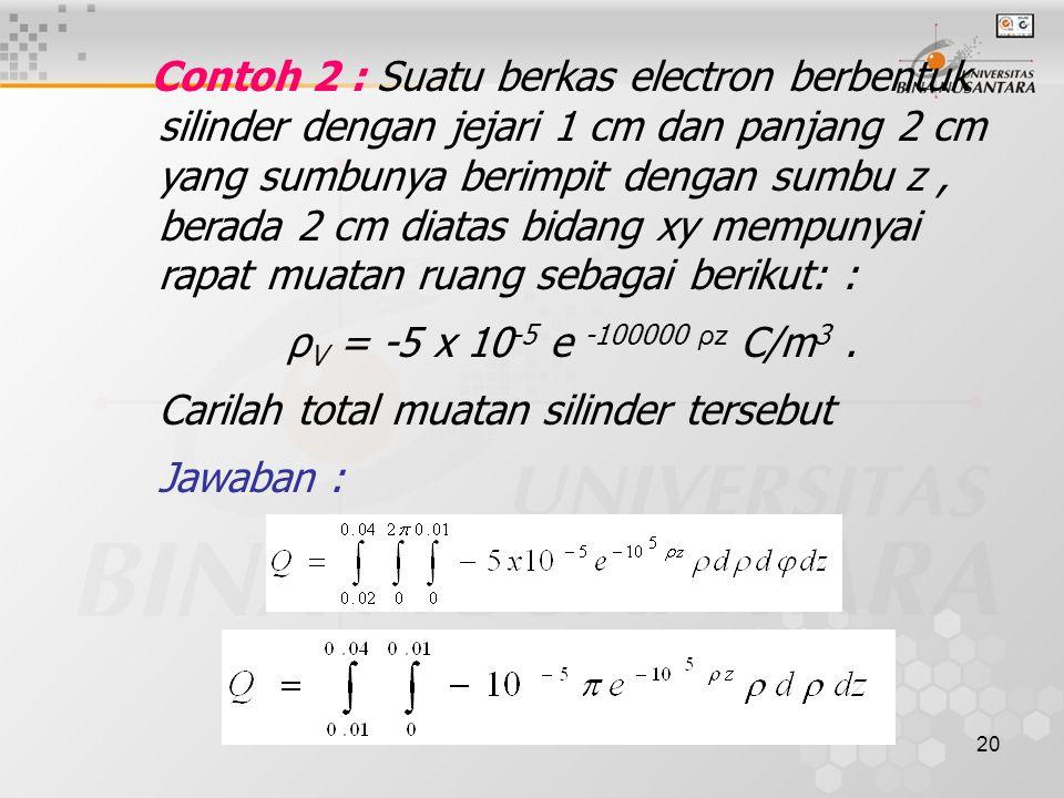 20 Contoh 2 : Suatu berkas electron berbentuk silinder dengan jejari 1 cm dan panjang 2 cm yang sumbunya berimpit dengan sumbu z, berada 2 cm diatas bidang xy mempunyai rapat muatan ruang sebagai berikut: : ρ V = -5 x 10 -5 e -100000 ρz C/m 3.