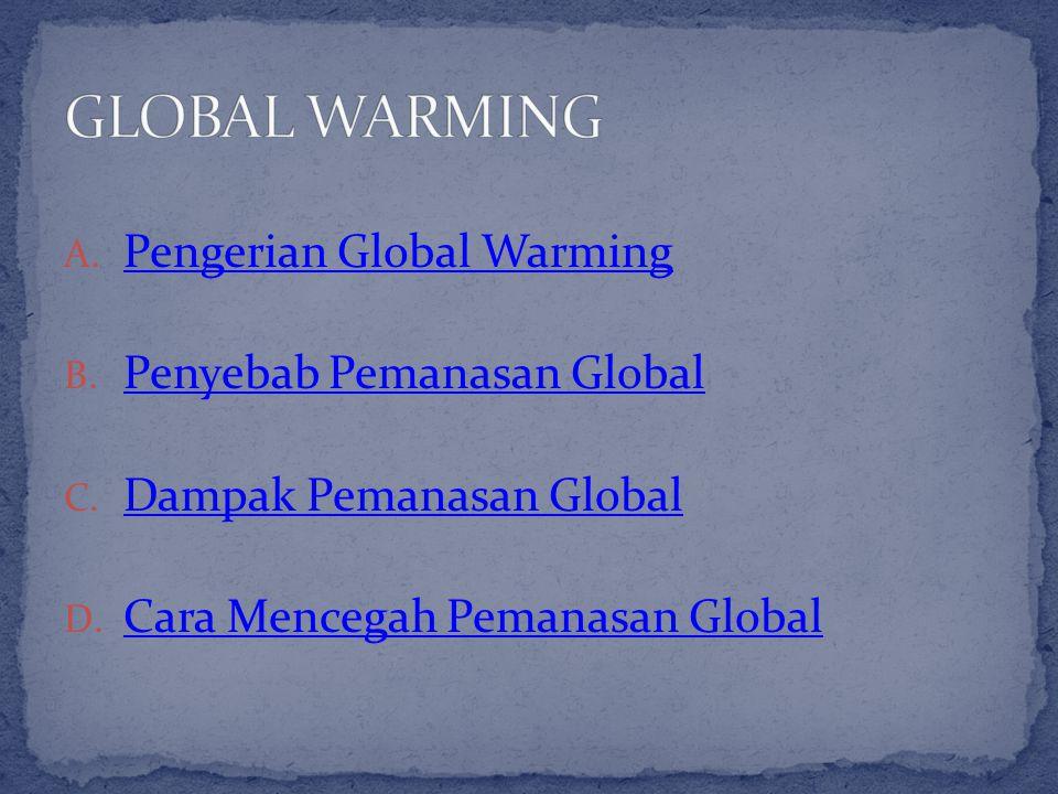 A. Pengerian Global Warming Pengerian Global Warming B. Penyebab Pemanasan Global Penyebab Pemanasan Global C. Dampak Pemanasan Global Dampak Pemanasa