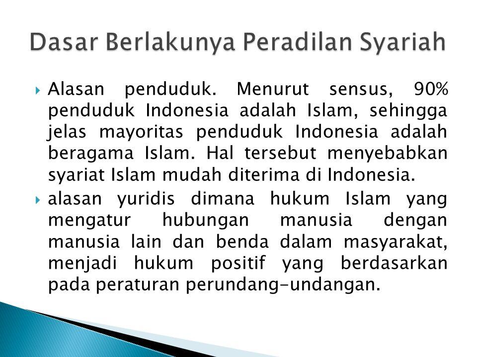  Alasan penduduk. Menurut sensus, 90% penduduk Indonesia adalah Islam, sehingga jelas mayoritas penduduk Indonesia adalah beragama Islam. Hal tersebu