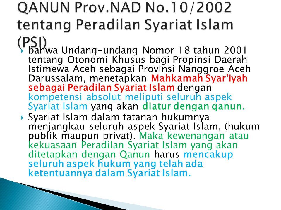  bahwa Undang-undang Nomor 18 tahun 2001 tentang Otonomi Khusus bagi Propinsi Daerah Istimewa Aceh sebagai Provinsi Nanggroe Aceh Darussalam, menetap