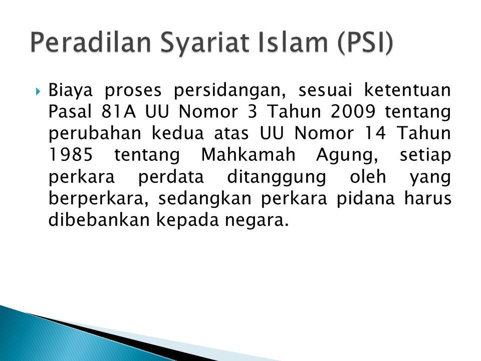  Biaya proses persidangan, sesuai ketentuan Pasal 81A UU Nomor 3 Tahun 2009 tentang perubahan kedua atas UU Nomor 14 Tahun 1985 tentang Mahkamah Agun