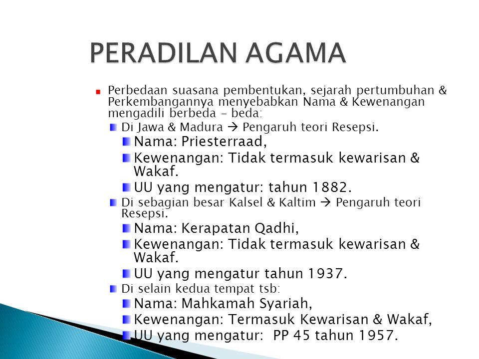 Perbedaan suasana pembentukan, sejarah pertumbuhan & Perkembangannya menyebabkan Nama & Kewenangan mengadili berbeda - beda: Di Jawa & Madura  Pengar